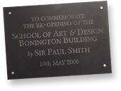Bonington Opening Plaque
