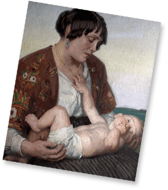 Dame Laura Knight Painting - Motherhood